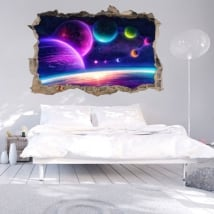 Wall stickers 3d colors of stellar space