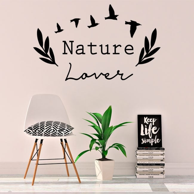 Vinyl and stickers english phrase nature lover