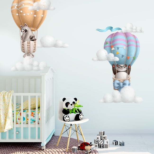 Vinyl and stickers for children panda bear and raccoon in balloon