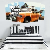 Video game stickers grand theft auto san andreas