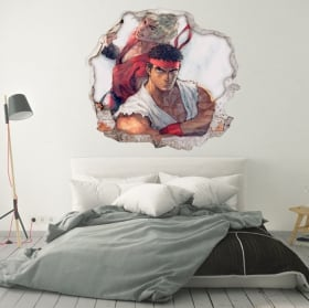 Wall stickers 3d video game street fighter
