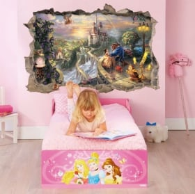 Vinyl and stickers disney hole 3d beauty and the beast