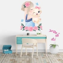 Vinyl stickers girl with cat flowers and butterflies
