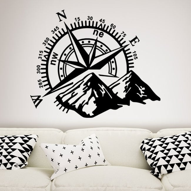 Decorative vinyl mountains and compass rose