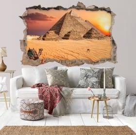 Wall stickers 3d sunset egypt pyramids of giza