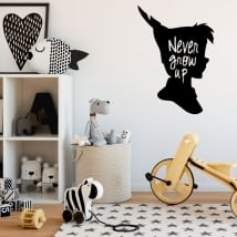 Vinyls and stickers for children peter pan with phrase in english