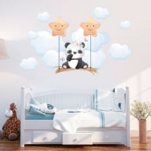 Vinyl and stickers for baby panda bear on the swing