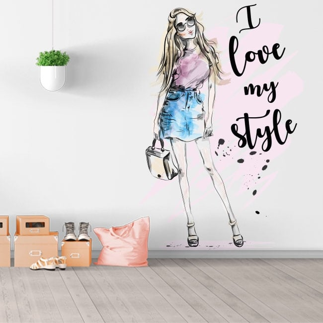 Vinyls and stickers woman silhouette with phrase i love my style