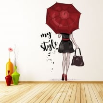 Decorative vinyls and stickers woman silhouette my style