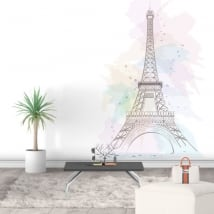 Decorative vinyls and stickers eiffel tower paris