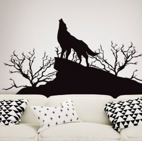 Decorative vinyls and stickers wolf in nature