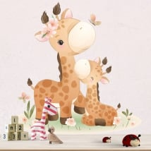Wall stickers for babies giraffes with butterflies and flowers
