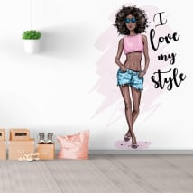 Decorative vinyl silhouette woman with phrase i love my style