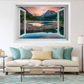 Decorative vinyl 3d window lake el pont de suert