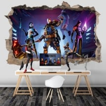 Vinyl hole wall video game fortnite x-force 3d