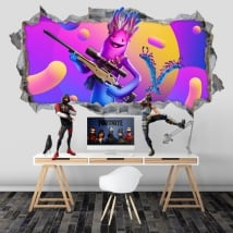 Fortnite 3d video game hole stickers