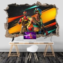 Adhesive vinyl 3d hole wall video game fortnite