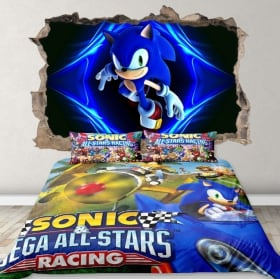 Vinyl and stickers hole wall 3d sonic