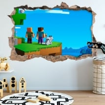3d hole stickers minecraft video game