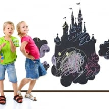 Vinyls black chalkboard castle with various clouds