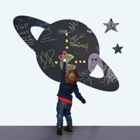Vinyls black chalkboard planet saturn