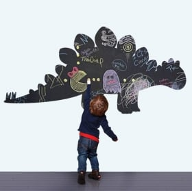 Children's decorative vinyls black chalkboard dinosaur
