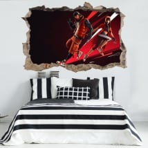 Vinyls and stickers 3d hole wall video game fortnite nba