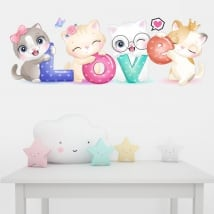 Vinyl and wall stickers cats love