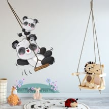Children's vinyls and stickers panda bears on swing