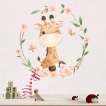 Vinyl and wall stickers giraffe with flowers