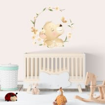 Vinyl and wall stickers lion with flowers