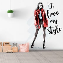 Vinyls and stickers silhouette woman i love my style