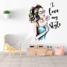 Decorative vinyl silhouette woman i love my style