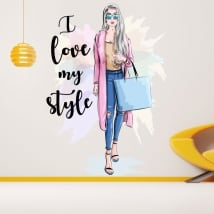Vinyl stickers silhouette woman i love my style
