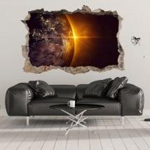 3d vinyl planet earth and sun