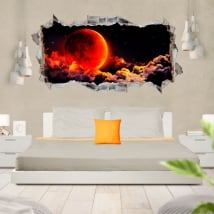 Vinyls and stickers 3d red moon