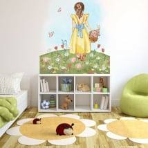 Adhesive vinyls illustration girl with flowers and butterflies