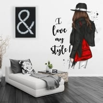 Vinyls woman silhouette with phrase i love my style