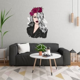 Vinyls and stickers silhouette of woman with flowers