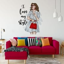 Vinyls and stickers woman with phrase i love my style