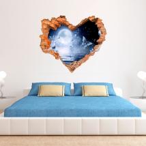 3d vinyl moon and butterflies