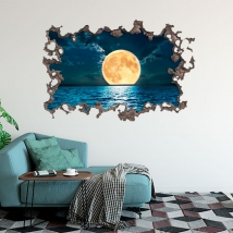 3d moon and sea stickers
