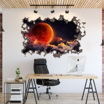 Moon in space stickers