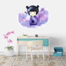 Vinyls and stickers watercolor japanese kokeshi