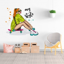 Vinyls and stickers woman skater my style