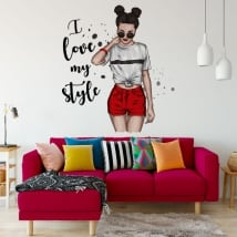 Vinyls stickers woman silhouette i love my style