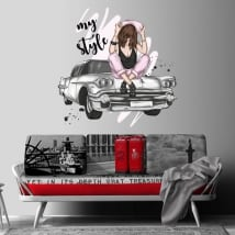 Decorative vinyl woman and retro car my style