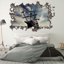 Vinyl 3d hole wall pirates of the caribbean ship