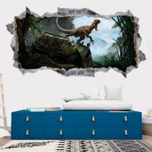 Decorative vinyl 3d dinosaur jurassic park