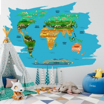 Children's or youth vinyls dinosaurs world map